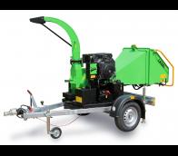 Buschholzhäcksler mit Benzinmotor auf gebremstem Fahrgestell montiert  LS 100/27 CB