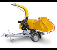 Leistungsstarker Buschholzhäcksler mit Benzinmotor auf gebremstem Fahrgestell montiert LS 160 PB